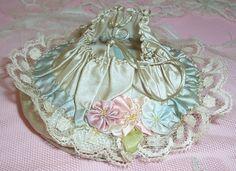 I ❤ ribbonwork . . . Antique, Flapper SILK Powder Puff/Dance Bag/Purse...Ribbon…
