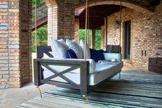 Outdoor Daybed, Indoor Outdoor Rugs, Outdoor Living, Outdoor Hanging Bed, Outdoor Porch Bed, Outdoor Railings, Outdoor Swings, Diy Porch, Outdoor Rooms