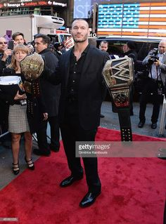 Randy Orton attends the WrestleMania 30 press conference at the Hard Rock Cafe New York on April 2014 in New York City. Wrestling Stars, Wrestling Wwe, Wrestlemania 30, World Championship Wrestling, Kenny Omega, Wwe Roman Reigns, Wwe Champions, Wrestling Superstars, Handsome Black Men