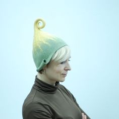 Ready to ship- head 52-53cm (20.5-20.8in) felted wool hat gnome in pale green and yellow last minute gift