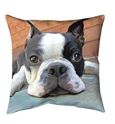 Manual Woodworkers Mosley Boston Terrier 12 inch x 12 inch Pillow