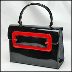 vintage Kelly style black and red patent leather handbag