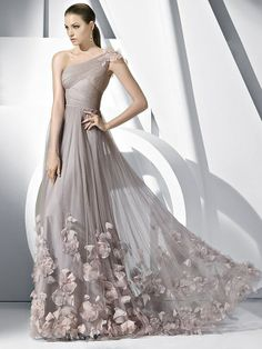 A-line Floor-length Tulle One-shoulder Prom Evening Gowns Designs - Special Occasion Dresses By AndyBridal Wedding Dresses Bridesmaid Dresses, Prom Dresses, Formal Dresses, Wedding Dresses, Dresses 2014, Bridesmaids, Tulle Wedding, Gown Wedding, Quinceanera Dresses