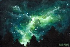 I've succumbed to the trend of a stary sky night. Really satisfaying anyway. Sky Night, Night Skies, Concept Art, Northern Lights, Watercolor, Space, Illustration, Green, Artist