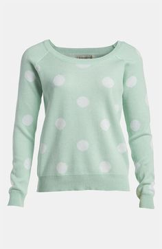 Spring Sweater: Mint & Polka Dots