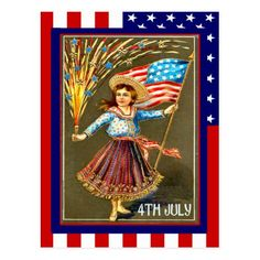 Replica Vintage 4th of July, Celebrate with me Postcard