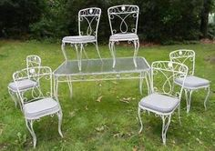 Vintage Woodard Mid Century Modern Wrought Iron Patio Set w Table 6 Chairs