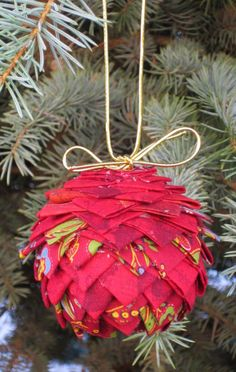 #12DaysofXmas, Day 2! Make this adorable red Christmas ornament from American Quilter's Society.