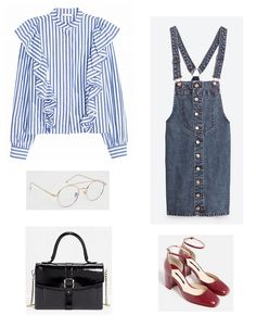Blue striped ruffled shirt+denim overall dress+red ankle strap pumps+black handbag. Fall Transitional Outfit 2016
