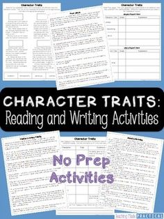 No prep, ready to use reading and writing activities for understanding character… Reading Resources, Reading Strategies, Reading Activities, Reading Skills, Teaching Reading, Reading Classes, Teaching Ideas, Character Traits Activities, Character Education