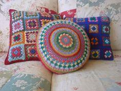 CROCHET CUSHION COVER combo. Granny Square cushion covers, cushion covers - two granny square and one round.