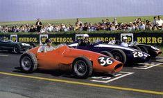 1958 GP Francji (#36 Phil Hill Maserati 250F; #28 Carroll Shelby Maserati 250F; #20 Roy Salvadori Cooper T45 - Climax)