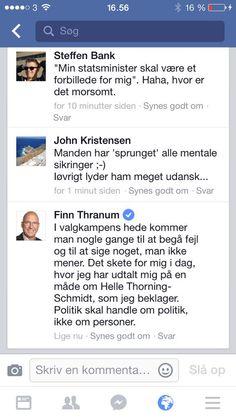 Finn Thranums forklaring og undskyldning her. Klippet fra min facebook. Klogt af ham. #dkpol #fv15