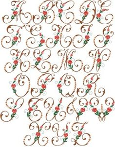 Embroidery Designs Thread Conversion Chart down Embroidery Stitches On Aida Cloth while Embroidery Panda Embroidery Alphabet, Embroidery Monogram, Embroidery Fonts, Free Machine Embroidery, Vintage Embroidery, Ribbon Embroidery, Embroidery Machines, Alphabet Design, Monogram Alphabet
