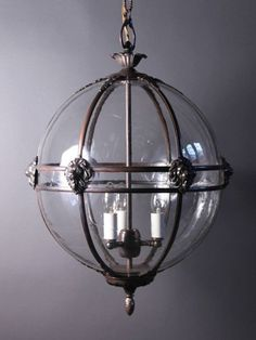 Stunning Globe Hall Lantern - with bespoke detail options - fleur de lys, lions heads etc. Lantern Ceiling Lights, Lantern Chandelier, Lantern Pendant, Ceiling Hanging, Victorian Lighting, Antique Lighting, Hall Lighting, Lighting Ideas, Pendant Lighting