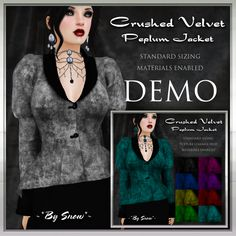 ~*By Snow*~ Crushed Velvet Peplum Jacket wearable DEMO