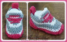 Handmade Crochet Baby Girl / Boy Trainers Booties by LilBitCrochet