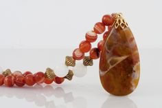 Brecciated Jasper Pendant Necklace on Beaded Strand of Red Agate, White Marble and Gold Beads $55 USD Only 1 available  #brecciatedjasper #jaspernecklace #agatenecklace #pendantnecklace #redstonenecklace