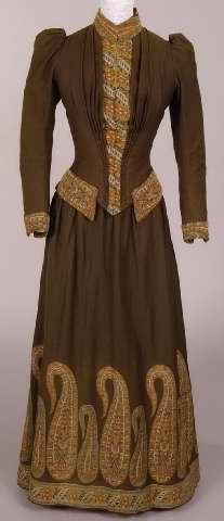 Dark green day wool day dress with paisley wool trim, 1888-1891.