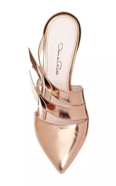 Fibi Bow Mule In Copper by Oscar de la Renta for Preorder on Moda Operandi