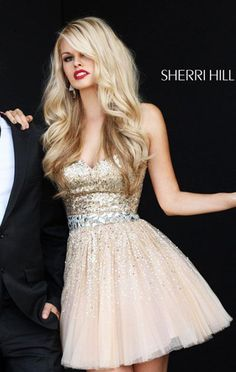 Sherri Hill 2787 A-Line Nude Sequined Strapless Short Tulle Homecoming Dress [Sherri Hill 2787 Nude] - $178.00 : Cheap Homecoming Dresses 2015,Prom Dresses & Cocktail Dresses Online Sale!