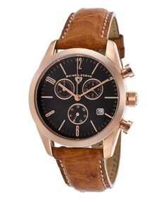 This Brown & Black Ostrich Peninsula Chronograph Watch is perfect! #zulilyfinds
