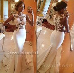 White A-line round neckline Lace Long Prom Dresses #prom #lacedress #promdress