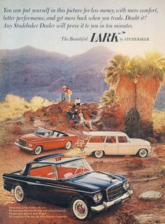 62 Lark Studebaker Classic Cars Ad Daytona Hardtop, Lark Wagon, & Daytona Convertible Retro Automobiles Photo Vintage Advertising Art Print
