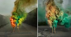 Photographer Ken Hermann's simply titled project Smokeobserves colorful clouds of the title's subject matter as they disperse through industrial environments, each gaseous mass originating from a ladder at the center of the photograph. The works follow Hermann's previous seriesExplosion 2.0, a