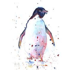 Print a chubby penguin watercolor от TheLittleFloret на Etsy