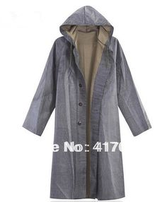 2014 Autumn Men Vintage fashioned one piece rubber canvas raincoat with sleeves Vintage long design rainjacket Waterproof Poncho(China (Mainland))