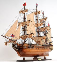 "HMS Surprise 37"" Handmade Wood Scale Model Ship. 589.99"
