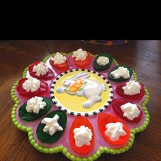 Made these Jello deviled eggs topped with whipped cream! Fun for after Easter dinner!
