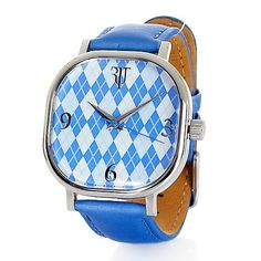 Timepieces by Randy Jackson Argyle-Print Dial Watch