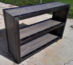 custom modern industrial bookcase media console 024 by IndustEvo