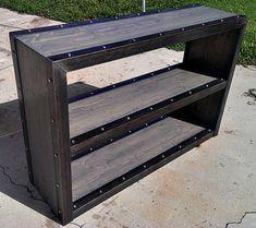 custom modern industrial bookcase media console 024 by IndustEvo