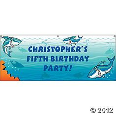 Personalized Small Jawsome Shark Party Banner, Banners, Party Decorations, Party Themes & Events - Oriental Trading