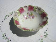 Beautiful Bavarian Bowl Painted Flowers Scalloped Edge $22 9/2017 Backstamp TlionL