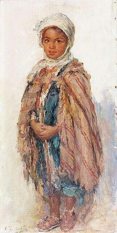 Algerie- Peintre Belge ,Edouard VERSCHAFFELT (1874-1955) ,huile sur toile , Titre : Jeune berger