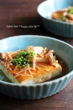 豆腐ステーキ・きのこあんかけ|レシピブログ。Tofu steak, mushroom sauce