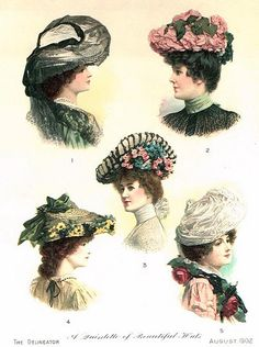 "calantheandthenightingale:  "" Some spiffy hats from 1902.  ""  Gorgeous!"