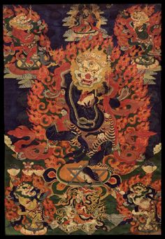 Tibetan Buddhist Thangka of Simhamukha, Lion-face Dakini