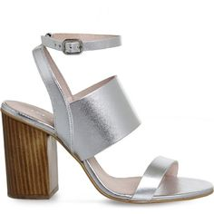 OFFICE Time 3 strap metallic-leather heeled sandals ($92) ❤ liked on Polyvore featuring shoes, sandals, heels, silver leather, strappy high heel sandals, leather heeled sandals, metallic sandals, strappy sandals and metallic strappy sandals