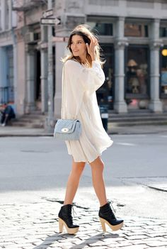 feminine, floaty dress + statement, clunky shoe + classic, cross body bag = cool outfit