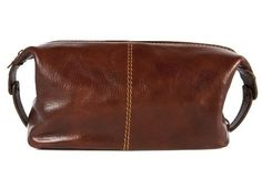 Alberto Bellucci Mens Italian Leather Milano Toiletry Travel Dopp Kit Case in Brown * See this great product.