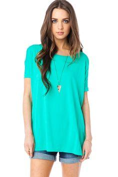 ShopSosie Style : Cozy Short Sleeve Tee in Jade