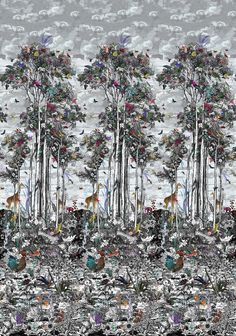 Animal Glade by Osborne & Little - Multi-coloured - Mural : Wallpaper Direct Wallpaper Stencil, Cool Wallpaper, Animal Wallpaper, Colorful Birds, Textile Patterns, Textiles, Exotic Pets, Monochrome, Sky