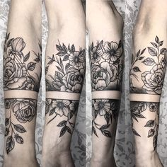 Left forearm: lilacs, lily of the valley, and daisy?