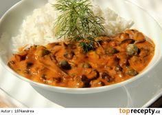 "Houbový "" Stroganoff"" Suroviny: cca 300 g čerstvých či mražených hub ( použila… Veg Recipes, Recipies, Chana Masala, Thai Red Curry, Stuffed Mushrooms, Food And Drink, Treats, Vegan, Dinner"