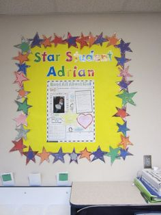 Star Student bulletin board in my class. My IAs cut and glittered each individual star. They are the greatest!
